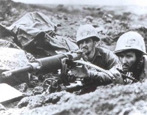 US Marines with a captured Type 92 Machine Gun