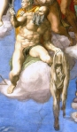 "St. Bartholomew displaying his flayed skin in Michelangelo's ""The Last Judgment."""
