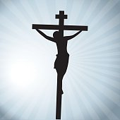 Vector illustration of Jesus Christ crucifixion silhouette, Good Friday.